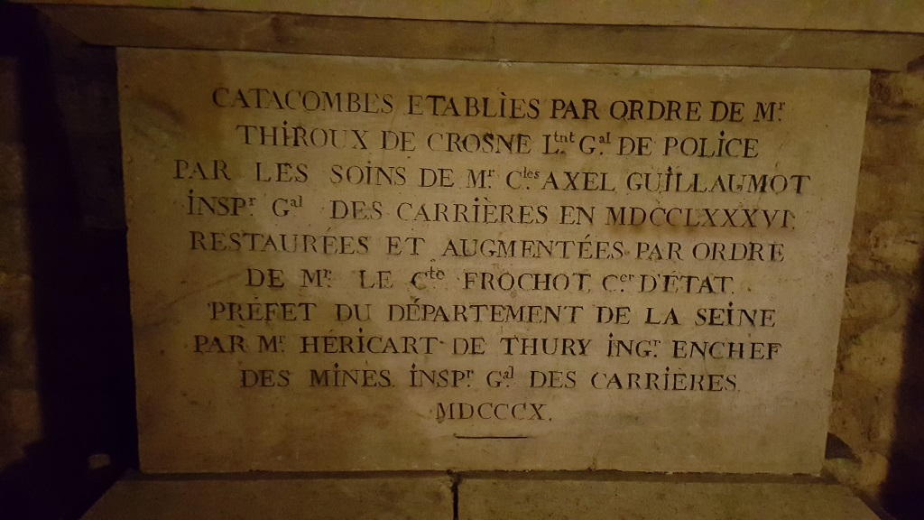 Plaque Commemorating the Establishment of the Catacombs in 1786