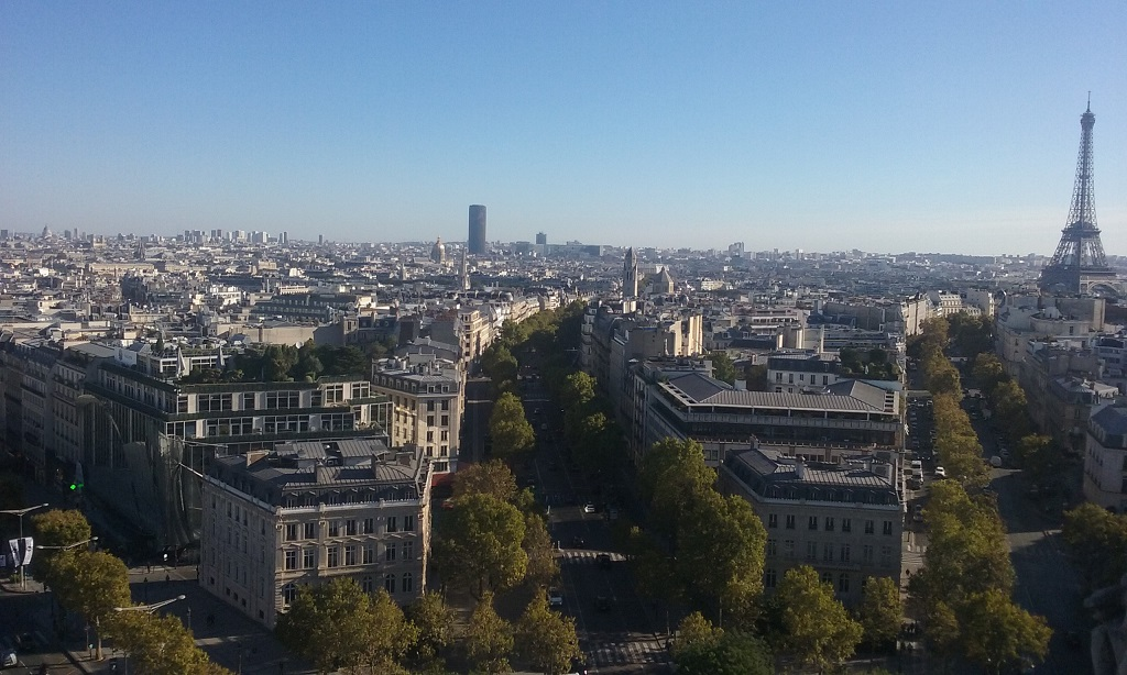 Tour Eiffel to the Right and Tour Montparnasse Is the Lone Tall Building in the Center