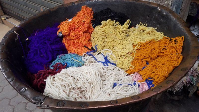 Marrakesh-Morocco-Dyer's-Souk-Teinturiers-Skeins-Wool