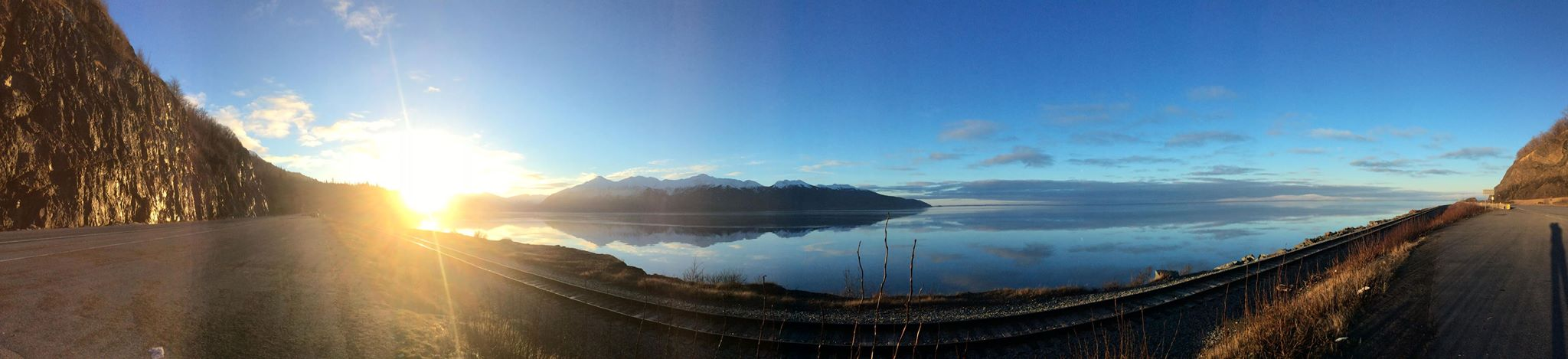 The Sun Rises Over the Chugach Mountains on the Seward Highway